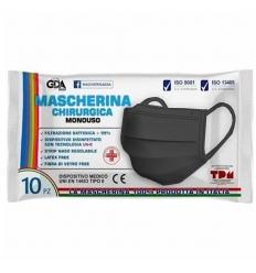 GDA Mascherina Chirurgica 10 pezzi nera